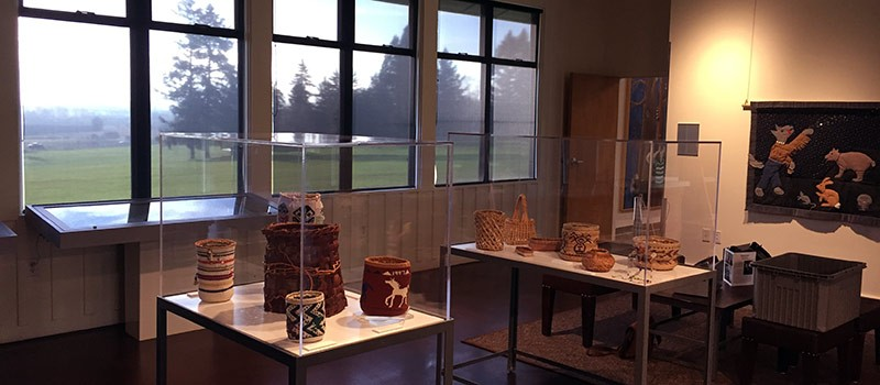 Now on display at the Visitors Center: Native American baskets and quilt by artist Pat Courtney Gold